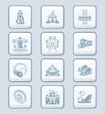 Attraction icons | TECH series. Amusement park or funfair attraction gray icon-set Stock Photography