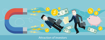 Attraction of Investors. Detailed Flat Web Banner. Attraction of investors. Detailed flat horizontal web banner of the drawing two businessmen, which the magnet Royalty Free Stock Photos