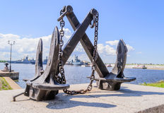 The Attraction Of Kronstadt. Kronstadt, St. Petersburg. Ship anchor - the monument on the waterfront. Anchor in the Harbor of Kronstadt royalty free stock image