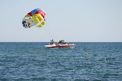 Attraction - the parachute on the water Stock Photography