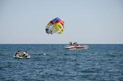 Attraction - the parachute on the water Royalty Free Stock Photography
