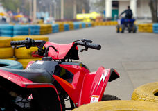 Attraction Of Quadricycles. View on race of 4-wheelers. Urban scene Royalty Free Stock Photo