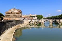 Attraction Saint Angel Castle, pedestrian bridge across Tiber Ponte Sant Angelo. Attraction Saint Angel Castle and bridge Ponte Sant Angelo in Rome, Italy, Sunny Royalty Free Stock Image