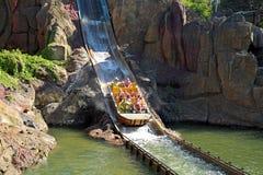 Attraction Tutuki Splash in the theme park Port Aventura in city Salou, Spain. Stock Photo