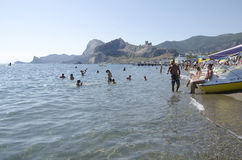 Attraction - water bikes in Sudak in the Crimea Stock Photography