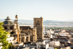 Attraction. Zooming in centered on the Cathedral of Granada Royalty Free Stock Images