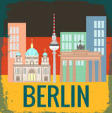Attractions Berlin on German flag background Stock Image