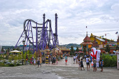 Attractions for children in popular Russian theme Park Royalty Free Stock Images