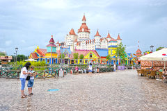 Attractions for children in popular Russian theme Park Royalty Free Stock Photos