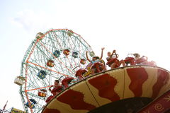 Attractions in Coney Island's Luna Park. New York Royalty Free Stock Photos