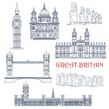 Attractions d'icône linéaire de la Grande-Bretagne et du Chili Photo libre de droits