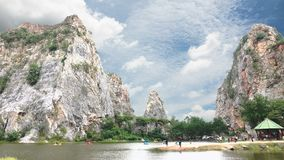 Park Rock Tham Khao Ngu Nature attractions Stock Footage