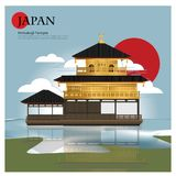 Attractions de point de repère et de voyage du Japon de temple de Kinkakuji illustration de vecteur