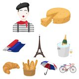 Attractions in France. Things to learn about France. France country icon in set collection on cartoon style vector. Symbol stock web illustration Royalty Free Stock Photos