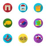 Attractions in France. Things to learn about France. France country icon in set collection on flat style vector symbol Stock Image