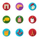 Attractions in France. Things to learn about France. France country icon in set collection on flat style vector symbol. Stock web illustration Royalty Free Stock Photography