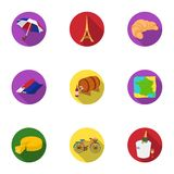Attractions in France. Things to learn about France. France country icon in set collection on flat style vector symbol. Stock web illustration Stock Photos