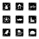 Attractions of Holland icons set, grunge style. Attractions of Holland icons set. Grunge illustration of 9 attractions of Holland vector icons for web Stock Photos