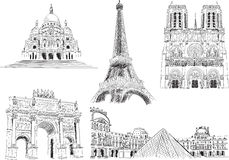Attractions of Paris, France vector illustration