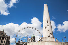 Attractions park on Dam Square (Royal Square) of Amsterdam Stock Photos