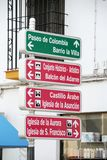 Attractions signpost, Priego de Cordoba. Royalty Free Stock Photo