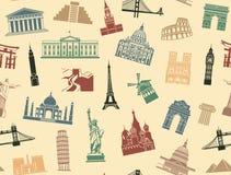Attractions touristiques de fond sans couture Photos stock