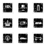 Attractions of United Kingdom icons set Royalty Free Stock Photo