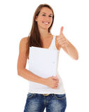 Attractiv student showing thumbs up Stock Image