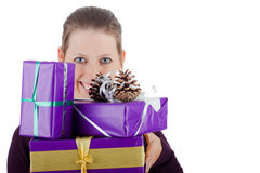 Attractiv woman with many presents Stock Image