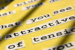 Attractive. A close up of the word 'attractive' which I used in a poem I wrote royalty free stock image