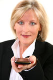 Attractive 40 Something woman with Cellphone Royalty Free Stock Images