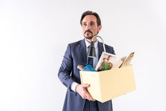 Attractive adult bearded man is holding box with his things. New opportunities. Portrait of positive mature employee is changing his job. He is standing with his stock image