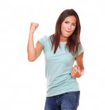 Attractive adult brunette celebrating her victory Royalty Free Stock Photo