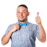 Attractive adult man with beard in a blue bow tie Royalty Free Stock Image