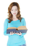 Attractive adult woman with books. Royalty Free Stock Image