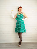 Attractive adult woman and champagne glass Stock Image