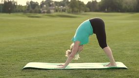 Attractive adult woman practicing yoga in park stock video