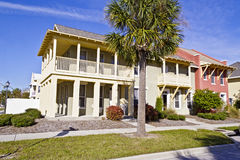 Attractive affordable housing units. Colorful safe affordable housing community Stock Photo