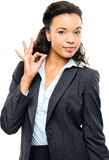 Attractive African American businesswoman okay sign isolated on Royalty Free Stock Photos