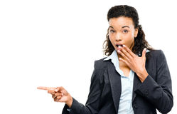 Attractive African American businesswoman pointing isolated on w Stock Photos
