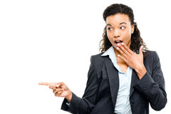 Attractive African American businesswoman pointing isolated on w Royalty Free Stock Image