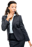 Attractive African American businesswoman pointing isolated on w Royalty Free Stock Photos