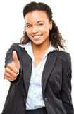 Attractive African American businesswoman thumbs up isolated on Stock Image