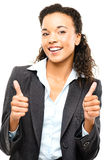 Attractive African American businesswoman thumbs up isolated on Stock Photography