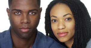 Attractive African American couple in front of white background Royalty Free Stock Photography
