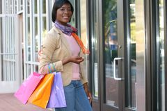 Attractive African American Female Shopping Stock Photography