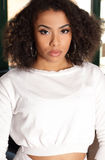 Attractive African American girl portrait in white sweater Stock Photography