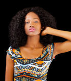 Attractive African American Teen Woman Patterned Dress Stock Photos