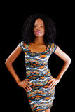 Attractive African American Woman Arms Akimbo Dress. Skinny Black Woman Arms Akimbo Patterned Dress Stock Photos