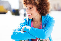 Attractive African American woman outdoors Stock Images